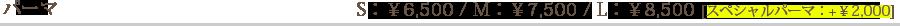 パーマ S6500円、M7500円、L8500円、スペシャルパーマプラス2000円